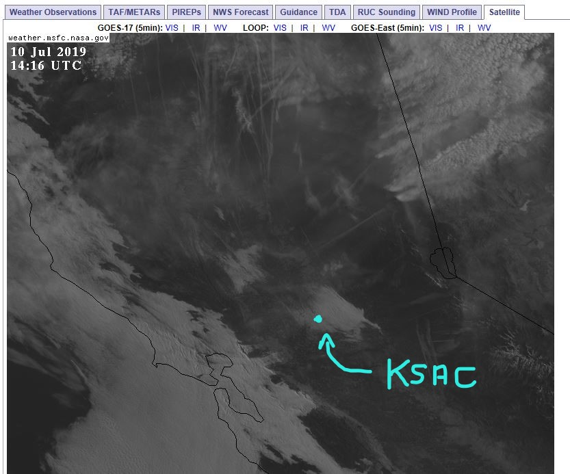 central CA satellite view of clouds with KSAC location displayed